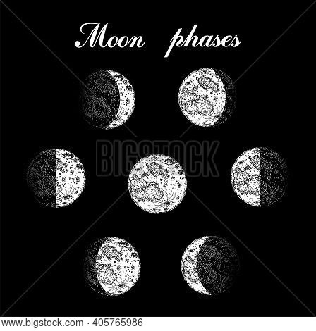 Moon Phases. Sketch Illustration. Moon Phases Planets In Solar System. Astrology Or Astronomical Gal
