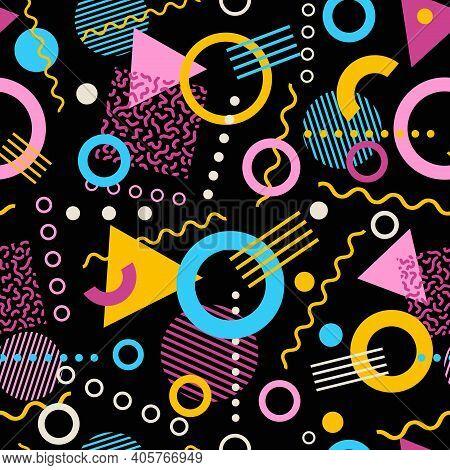 Retro Seamless 1980s Inspired Memphis Pattern Background. Vector Illustration.