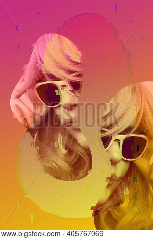 Art Collage With Close Up Fashion Portrait Young Beautiful Woman. Unusual Youth Fashion. Creative Vo