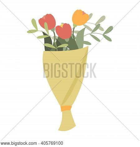 Vector Flower Bouquet For A Holiday Greeting Card, A Bouquet Of Flowers Drawn By Hand In The Style O