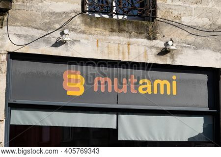 Bordeaux , Aquitaine  France - 01 24 2021 : Mutami Logo Brand And Text Sign On Store Insurance Offic