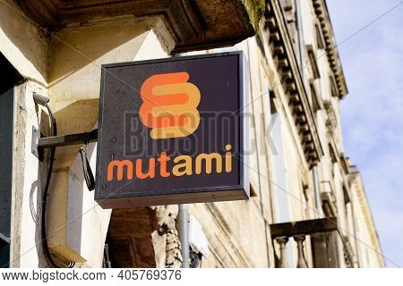 Bordeaux , Aquitaine  France - 01 24 2021 : Mutami Logo Brand And Text Sign On Entrance Insurance Of