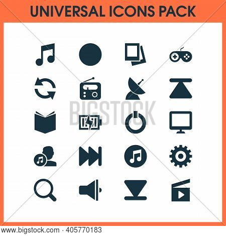 Media Icons Set With Sync, Quarter, Record And Other Gamepad Elements. Isolated Vector Illustration