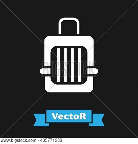 White Pet Carry Case Icon Isolated On Black Background. Carrier For Animals, Dog And Cat. Container
