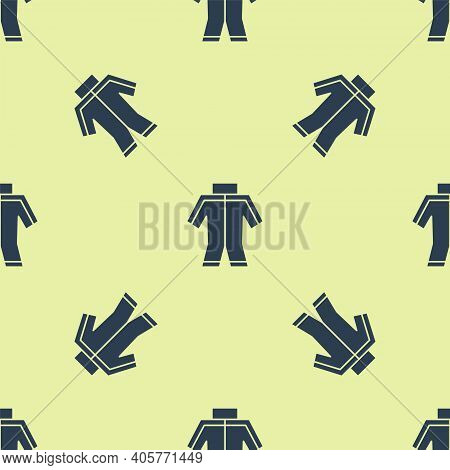 Blue Wetsuit For Scuba Diving Icon Isolated Seamless Pattern On Yellow Background. Diving Underwater