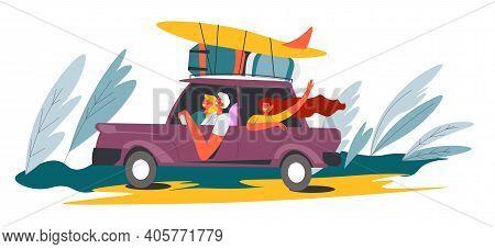 People Driving Car To Seaside, Van With Surfboard