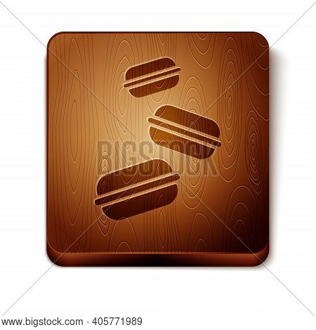 Brown Macaron Cookie Icon Isolated On White Background. Macaroon Sweet Bakery. Wooden Square Button.