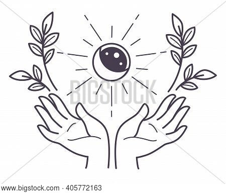 Hand Holding Full Moon And Sun Eclipse With Flora