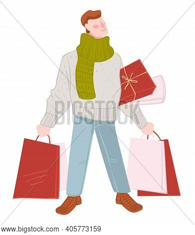 Winter Shopping Season, Man With Bags And Presents