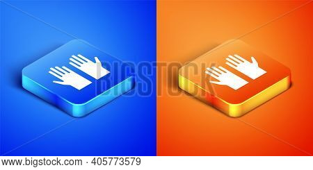 Isometric Medical Rubber Gloves Icon Isolated On Blue And Orange Background. Protective Rubber Glove