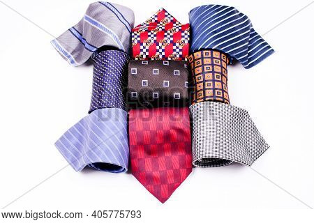 Neckties. Set Different Neckties. Colored Ties For Men On White Background . Set Of Stylish Men Acce
