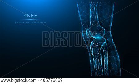 Polygonal Vector Illustration Of The Knee Joint Side View. Thigh And Knee Made Of Lines And Dots Are