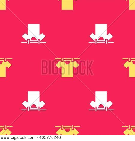 Yellow Drying Clothes Icon Isolated Seamless Pattern On Red Background. Clean Shirt. Wash Clothes On