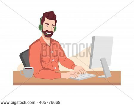Guy Operator Smiles In Headphones And Microphone Typing On Keyboard. Online Call Center Worker, Cust