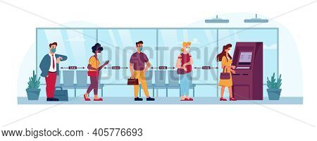 Atm Queue, People In Social Distance Line To Bank, Flat. Coronavirus Covid Social Distance, People I
