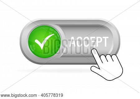 Green Accept Button. Abstract Web Template With Green Accept On White Background. Isolated Vector Il