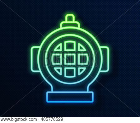 Glowing Neon Line Aqualung Icon Isolated On Blue Background. Diving Helmet. Diving Underwater Equipm