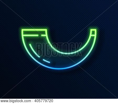Glowing Neon Line Traditional Ram Horn, Shofar Icon Isolated On Blue Background. Rosh Hashanah, Jewi