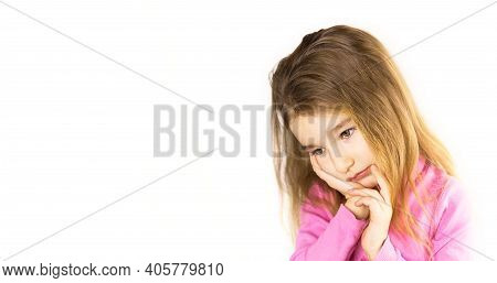 Little Girl With Sad And Frightened Face Holds Her Cheek With Hand - Tooth Hurts. Ear Pain, Toothach