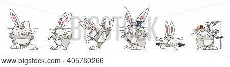 Bunnies Easter Compilation. Vector Doodle Sketch New