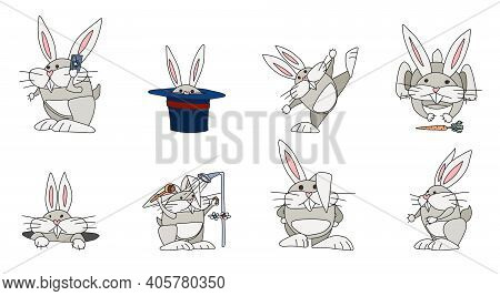 Funny Rabbits Character Compilation. Vector Doodle Sketch