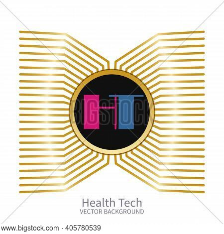 Round Banner With Microchip And Logo Health Tech On White Background.