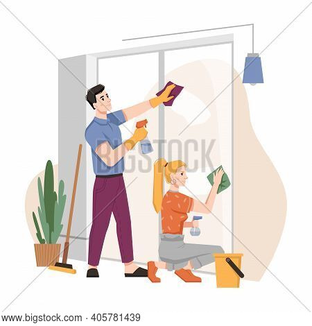 Couple Washing Windows At Home Together. Vector Housework Chores, Husband And Wife Doing House Work