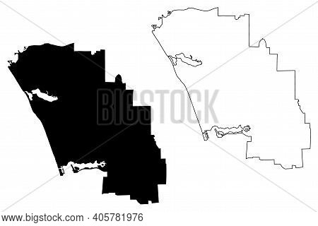 Carlsbad City, California(united States Cities, United States Of America, Usa City) Map Vector Illus