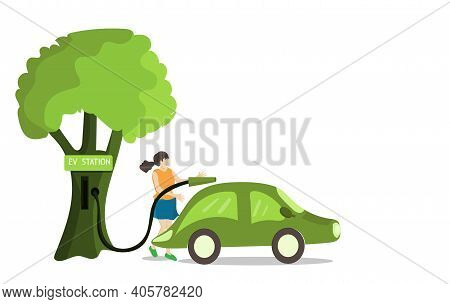 Replenish Clean Energy Concept, Working Women Clutching After Filling Up With Electric Energy From T