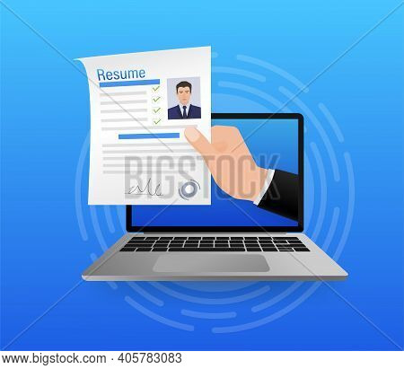 Resume, Great Design For Any Purposes. Flat Icon. Vector Illustration Flat Design. Online Interview.