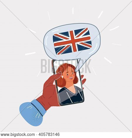 Vector Illustration Of Learning English Languages Via The Internet. Screen With Native Speaker And T