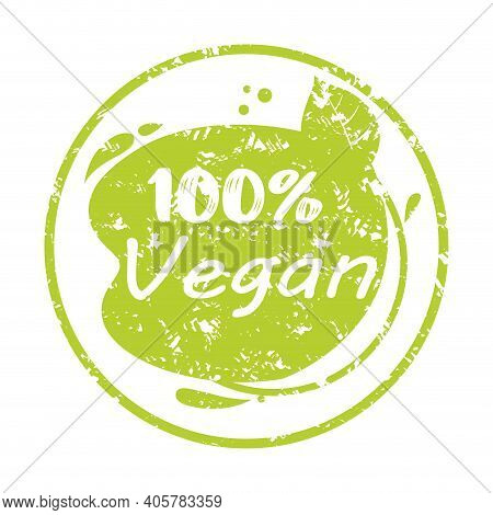 Tag Rubber Stamp Label Vegan Product Quality. Vector Stamp Insignia Badge, Green Mark For Healthy Pr