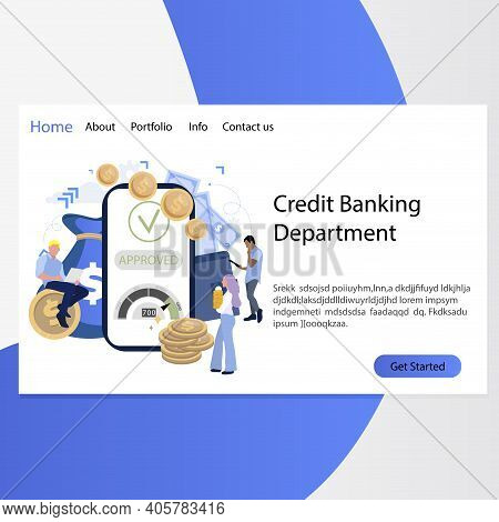 Credit Banking Department Landing Page. Approved Loan In Mobile Bank, Business Interface App, Depart
