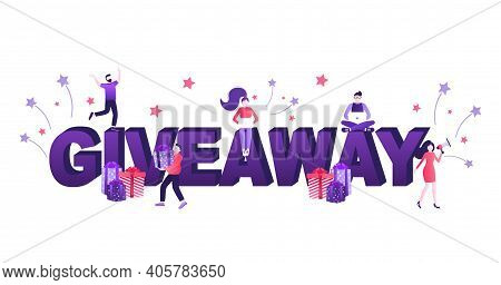 Giveaway Banner. Trendy Ribbon.holiday Concept. Vector Text. Post Template. Win Prize. Minimal Backg