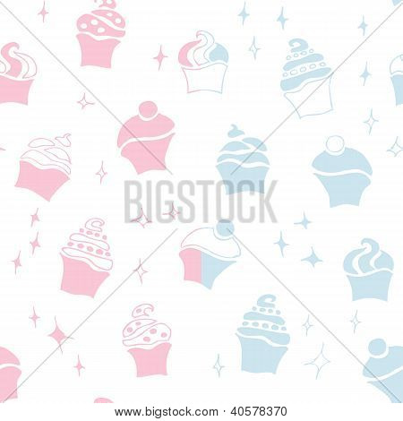 seamless retro fifties blue baby boy girl cupcake pattern