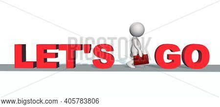 Let\'s Go - Red Lettering With 3d People On Gray Catwalk - Isolated On White Background - 3d Illustr