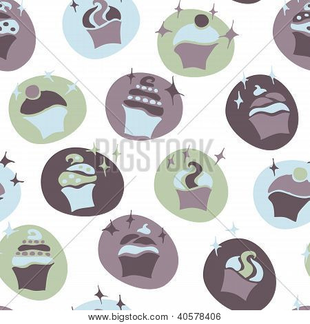 seamless retro fifties blue baby boy cupcake pattern