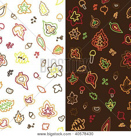 seamless retro vector autumn leaf pattern