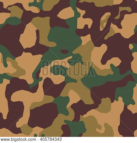 Geometric Camouflage. Modern Urban Camo Print For Fabric. Green Autumn Polygon Camo Pattern, Abstrac