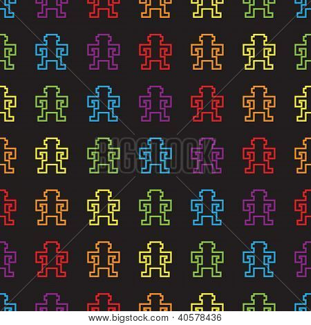 seamless rainbow pixel monkeys pattern