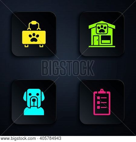 Set Grooming Salon Price List, Pet First Aid Kit, Dog And Grooming. Black Square Button. Vector