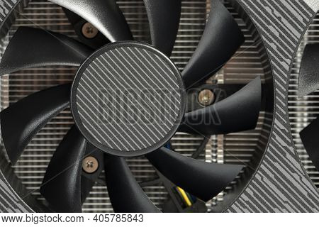 Computer Parts. Graphics Card Fan Close-up. Cryptocurrency Mining.