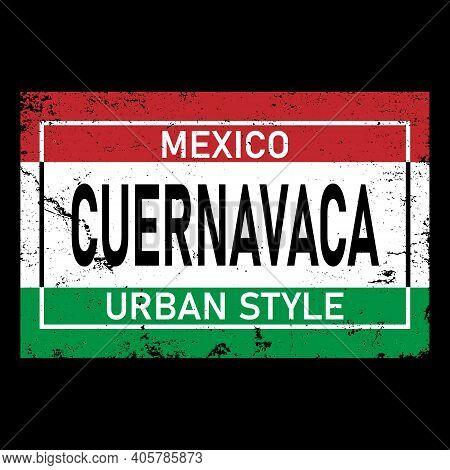 Cuernavaca. Red Green Isolated Inscription Mexican Cuernavaca For Print, Clothing, T-shirt, Souvenir