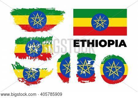 Ethiopia. National Flag. Icon. Symbol. Vector Illustration On White Background.