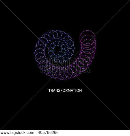 Spiral Transformation, Square Changing Into Circle. Evolution, Progress
