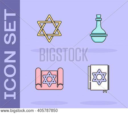 Set Jewish Torah Book, Star Of David, Torah Scroll And Wine Bottle Icon. Vector