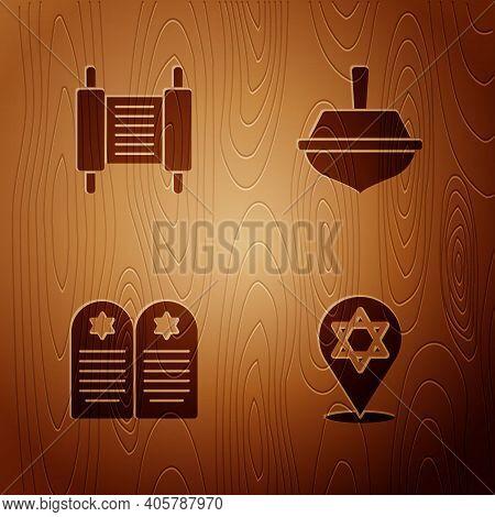 Set Star Of David, Torah Scroll, Tombstone With Star David And Hanukkah Dreidel On Wooden Background