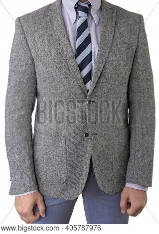 Men's Gray Suit With Tie On A White Background, Isolate.
