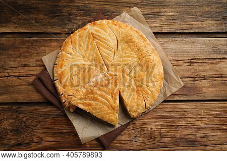 Traditional Galette Des Rois On Wooden Table, Above View. Space For Text