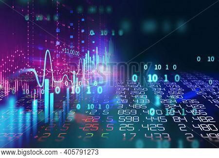 Abstract Futuristic Illustration, High Computer Technology Background. Hi-tech Digital Technology Co